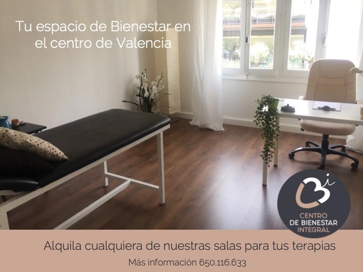 Tu espacio de Bienestar en el centro de Valencia. Alquila cualquiera de nuestras salas para tus terapias